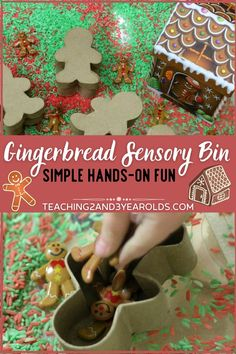 You will love this easy gingerbread sensory bin for toddlers and preschoolers. Super easy to put together, lots of fun to play with! #toddlers #preschool #Christmas #sensory #finemotor #holidays #3yearolds #teaching2and3yearolds