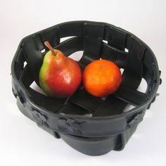 Recycled bike inner tube basket