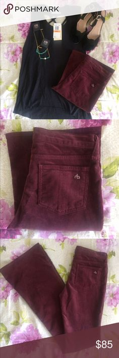 Rag & Bone Corduroy Elephant Bells in Bordeaux Bordeaux Corduroy Bells.                                        Button-Zip Fly Closure Waist Across is 15 Inches Inseam is 34 1/2 Inches Leg Opening is 20 Inches Hips Across is 17 Inches Rise is 8 Inches, Mid-Rise Five-Pocket Material is 73% Cotton/27% Elastane Bundle for discounts! Reasonable offers considered. Thank you for shopping my closet! rag & bone Pants Boot Cut & Flare