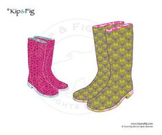 Wellie boots applique template  PDF applique pattern by KipandFig, £2.00