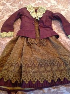 """Late 1800""""s Antique Silk and Lace Child's Dress and Jacket"""