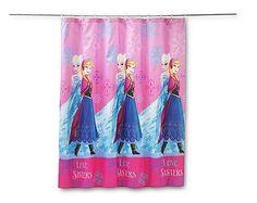 Shower Curtain Frozen Bathroom Decor Kids Anna Elsa Love Sisters Snow Fun Fabric #Disney