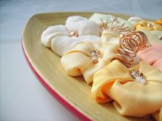 OOAK Wood centerpiece tangerine pastel fabric flowers by mapano, €35.00