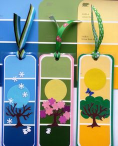 Bookmarks made with Paint chips- Fall Crafts Crafts For Seniors, Crafts To Do, Crafts For Kids, Paper Crafts, Paint Sample Art, Paint Samples, Paint Chip Cards, Diy Bookmarks, Bookmark Ideas