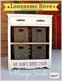 Three Mango Seeds Blog:  Lonesome Dove Inspired Dresser Project.