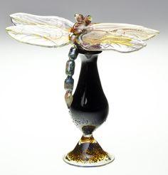 Loy Allen Glass ~ 2012 Bottles 'Dragonfly on Black Bottle'