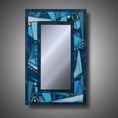 Funky Freestyle Turquoise Blue Stained Glass Mosaic by MudHorseArt