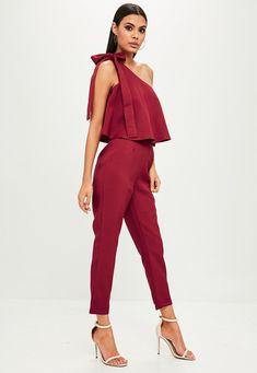 Missguided - Red One Shoulder Bardot Jumpsuit