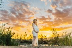 A maternity photography session in california with mother daughter their horse and a creek