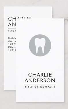 Vertical business cards with you name and title/company name on the front along with an elegant white and gray tooth logo. Contact information on the back. A modern and minimal design for dentists, dental hygienists, orthodontists etc