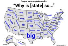 USA state autocomplete results: Why Is Your State So ________? This is great.
