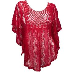 eVogues Apparel Women's Plus Size Crochet Poncho Top ($30) ❤ liked on Polyvore featuring plus size, shirts, tops, plus size poncho, crochet camisole, red cami, plus size cami e crochet poncho