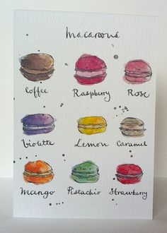 French Macaroons Card from Original Illustration.