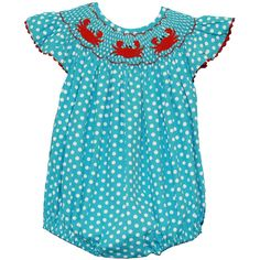 Smocked Turquoise Polka Dot Crab Bubble Suit PRE-ORDER