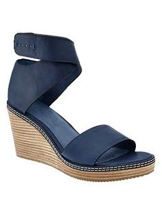 Ankle-wrap wedge sandals.  Great Italy look.  Comfy enough for school.  Gap.