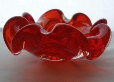 "INCREDIBLE 5.5"" MURANO Floriform RED MidCentury MODERN Glass BOWL ORIGINAL LABEL"
