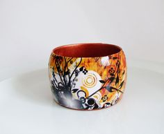 Wood Bangle Abstract Autumn Fall Decoupage by UniquelyUJewellery, £22.00