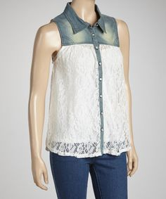Take a look at this Denim & Ivory Contrast Top by LOVE STITCH on #zulily today!