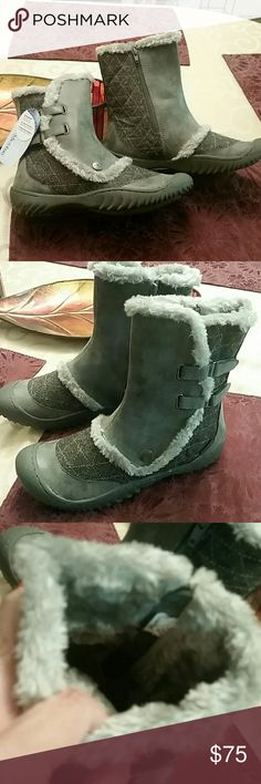 Boots NWT Weather ready booties.  Lush interior for warmth, and good support and traction.  Never wore due to warmer climate. Beautiful grey neutral color.... Jambu Designs Shoes Ankle Boots & Booties