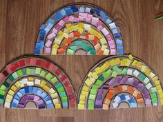 Paint chip mosaic rainbows.  You could use little squares cut from magazines instead of the paint chips, too.