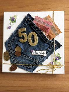 Geldgeschenk zum 50 y Manualidades Reciclaje y Manualidades Ideas y Manualidades ✂️ Diy Birthday, Birthday Presents, Birthday Cards, Money Cards, Diy Cards, Gift Money, Diy Presents, Diy Gifts, Don D'argent