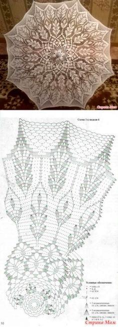 And one umbrella hook . Crochet Quilt, Crochet Doily Patterns, Crochet Tablecloth, Crochet Art, Crochet Diagram, Crochet Home, Thread Crochet, Crochet Motif, Crochet Designs