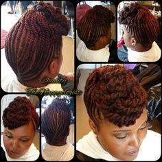 American and African Hair Braiding : Signature Twist Updo with marley hair by - community. Natural Updo, Natural Hair Styles, Flat Twist Updo, Twist Braids, Marley Twists Updo, Bun Braid, African Braids Hairstyles, Twist Hairstyles, Hairstyles 2016