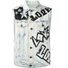 Faith Connexion \'Do It\' Denim Vest ($650) ❤ liked on Polyvore featuring men's fashion, men's clothing, men's outerwear, men's vests, mens vest, mens vest outerwear and mens denim vest