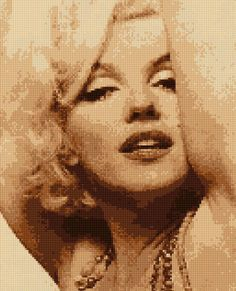 Cross stitch pattern Sexy! Marilyn Portrait PDF - New EASY chart with one color per sheet And regular chart! Two charts in one! by HeritageCharts on Etsy