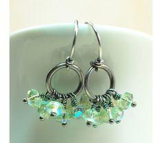 Oxidized Sterling Silver Cluster Earrings with Aurora Borealis Czech Beads, Dangle Earrings, $30.00