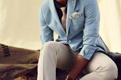 Blue Blazer, Light Colored Pants, & Spotty Pocket Square