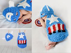 Newborn Baby Captain America Super Hero Hat & Cape Set Crochet #pinhonest