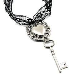 Lace Necklace with Heart with better key, p, and a f hanging tattoo
