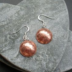 Copper Disc With Heart Detail Earrings With Sterling Silver Ear Wires £9.00