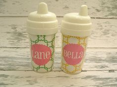 I like these personalized sippy cups.
