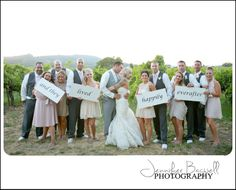 bridal party holding up signs for a cute ending to an album!  or a thank you card!