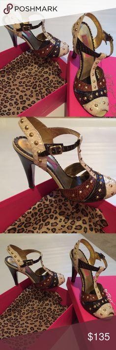 Betsey Johnson gold studded peep toe heels brown Betsy Johnson studded heels Betsey Johnson Shoes Heels