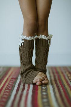 Knitted Leg Warmers Toddler Girls Lace Trim Socks by ThreeBirdNest, $28.00