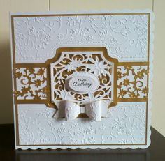 Made with the tonic studios jasmine dream die set and embossing folder.