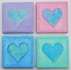 Pastel hearts original hand painted mixed media by NewCreatioNZ, $28.00