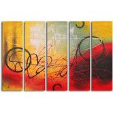 "Found it at Wayfair - Hand Painted ""Graffiti on Copper"" 5 Piece Oil Canvas Art Set"