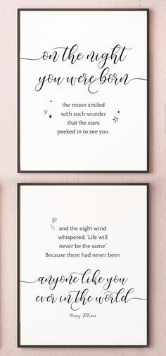 Newborn Baby Gift On The Night You Were Born Quote – Wall Art Printable, great as Birth Announcement - Geburtsanzeige Baby Boys, Shower Bebe, Girl Nursery, Nursery Room, Baby Room Art, Newborn Baby Gifts, Newborn Baby Quotes, Wall Art Quotes, Quote Wall