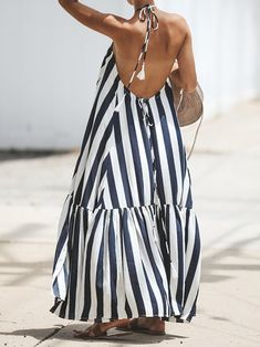 Loose Hanging Neck Sleeveless Striped Maxi Dresses for Women Striped Maxi Dresses, Casual Dresses, Backless Maxi Dresses, Maxi Dress Summer, Summer Dresses, Look Fashion, Fashion Outfits, Fashion Women, Vestidos Halter