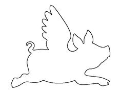 Flying pig pattern. Use the printable outline for crafts, creating stencils, scrapbooking, and more. Free PDF template to download and print at http://patternuniverse.com/download/flying-pig-pattern/