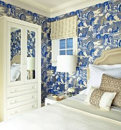 Blue and white Chinoiserie bedroom with Schumacher Chiang Mai Dragon wallpaper