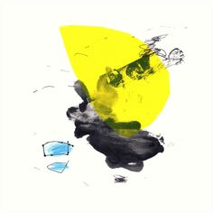 Modern Squared Abstract Art made with ink, pencil and screen print Yellow Art, Black N Yellow, Colorful Abstract Art, Framed Prints, Art Prints, Ink Painting, Printmaking, Screen Printing, Modern Art