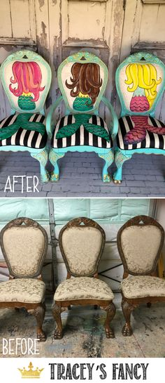 Who loves mermaids!?! Tracey Bellion of Tracey's Fancy paints these gorgeous, vibrant mermaid chairs on second hand upholstered and fabric chairs. | How to Paint Fabric Chairs | How to Paint Mermaids | Girls Fun Painted Furniture Ideas  | Mermaid Decor | Vanity Chair | French Provincial Chair Makeover | Chair Styles | #furnituremakeover #whimsicalfunriture