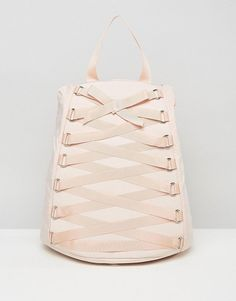 Corset Detail Backpack by Asos. Backpack by ASOS Collection, Durable canvas outer, Adjustable straps, Zip closure, Wipe clean, 100% Polyester, H: 36c...