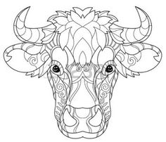 Coloring Pages Print Hand Drawn Doodle Outline Cow Head Decorated With OrnamentsVector Zentangle