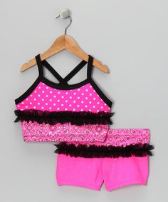 Take a look at this Pink Handkerchief Ruffle Crop Top & Shorts - Toddler & Girls by Lexi-Luu Designs on #zulily today!